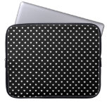 White Candy Polkadot Hearts on Black Computer Sleeves
