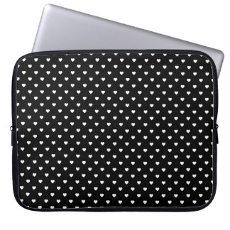 White Candy Polkadot Hearts on Black Laptop Sleeve
