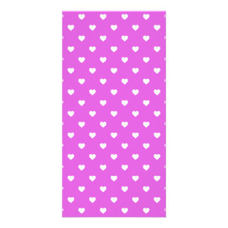 White Candy Polkadot Hearts on Lilac Photo Greeting Card