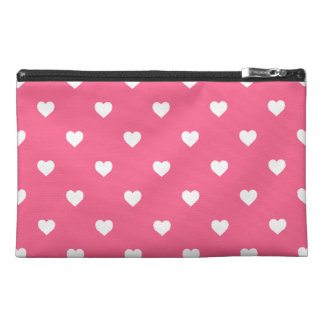 White Candy Polkadot Hearts on Midi Pink Travel Accessories Bags