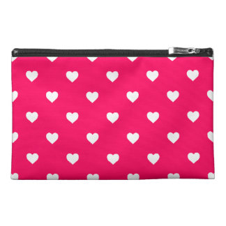 White Candy Polkadot Hearts on Rose Pink Travel Accessories Bag