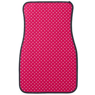 White Candy Polkadot Hearts on Rose Pink Car Mat
