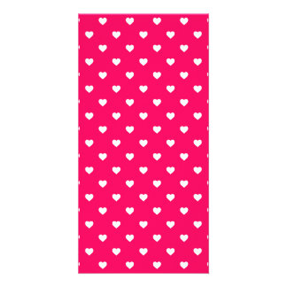 White Candy Polkadot Hearts on Rose Pink Custom Photo Card