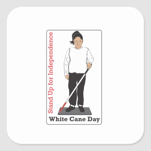 White Cane Day Sticker