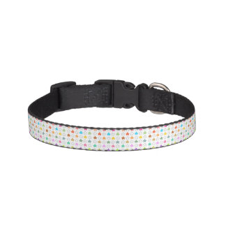 White Canvas Cute Color Stars Pattern Pet Collar