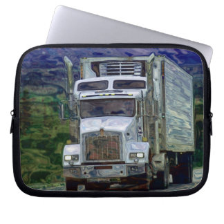 White Cargo Truck Driver's Art Laptop Sleeve