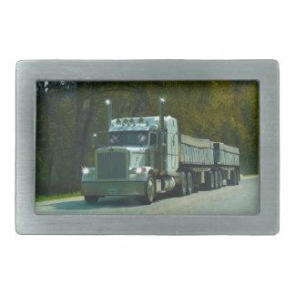 White Cargo Truck & Highway Art for Lorry-lovers Rectangular Belt Buckle