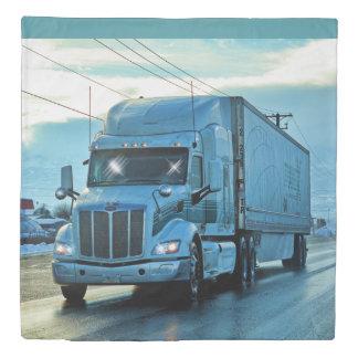 White Cargo Truck on Highway Duvet Cover