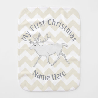 White Caribou My First Christmas Chevron Pattern Burp Cloth