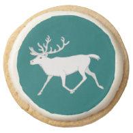 White Caribou Reindeer Christmas Holiday Fun Round Sugar Cookie