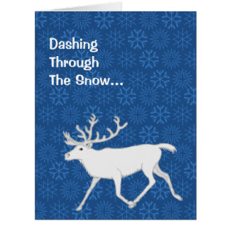 White Caribou Reindeer Christmas Holiday Funny Card