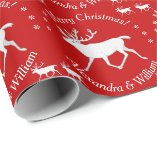 White Caribou Reindeer Christmas Personalized Gift Wrap Paper