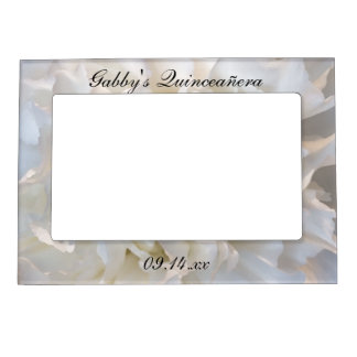 White Carnation Floral Quinceañera Magnetic Photo Frame