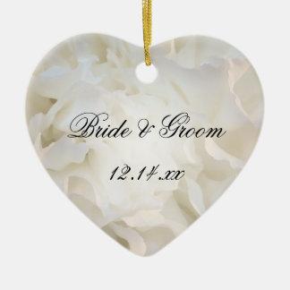 White Carnation Floral Wedding Ceramic Ornament