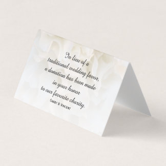 White Carnation Floral Wedding Charity Favors Place Card