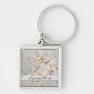 White Carnation Floral Wedding Silver-Colored Square Keychain