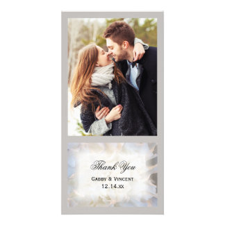 White Carnation Floral Wedding Thank You Card