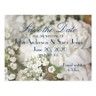 White Carnations & Baby's Breath Save the Dates Postcard