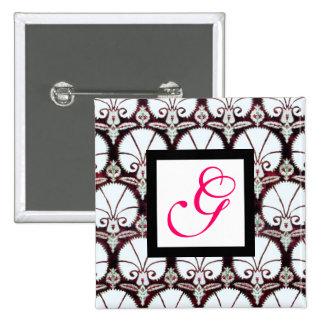 WHITE CARNATIONS DAMASK MONOGRAM pink fuchsia Pinback Button