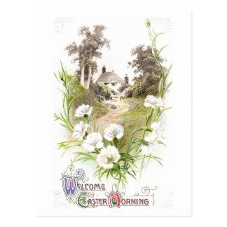 White Carnations Vintage Easter Postcard