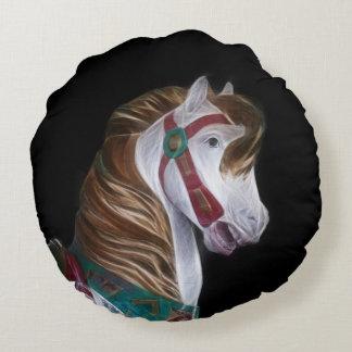White carousel horse head round pillow
