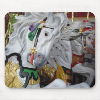White Carousel Horse Mouse Pad