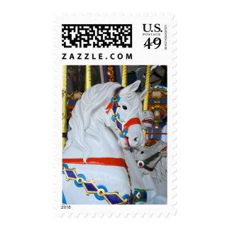 White Carousel Horse Postage