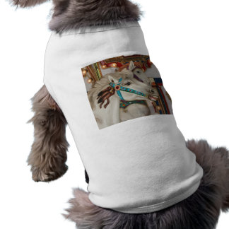 White carousel horse with blue bridle picture dog shirt