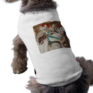 White carousel horse with blue bridle picture doggie shirt