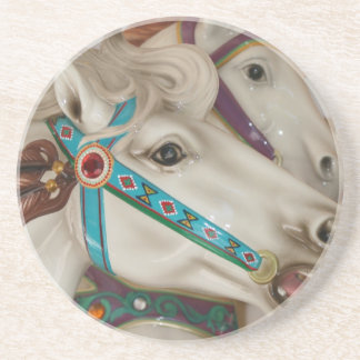 White carousel horse with blue bridle picture drink coaster