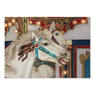 White carousel horse with blue bridle picture custom invitation