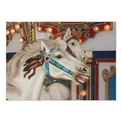 """White carousel horse with blue bridle picture 5"""" x 7"""" invitation card"""