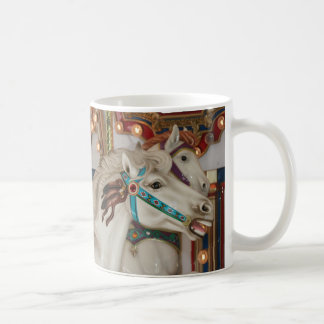 White carousel horse with blue bridle picture coffee mug