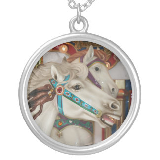 White carousel horse with blue bridle picture necklaces