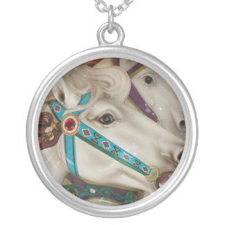 White carousel horse with blue bridle picture personalized necklace