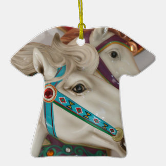 White carousel horse with blue bridle picture christmas ornaments
