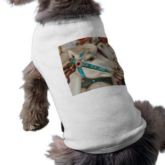 White carousel horse with blue bridle picture pet t shirt