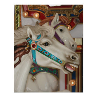 White carousel horse with blue bridle picture posters