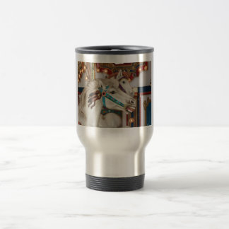 White carousel horse with blue bridle picture travel mug