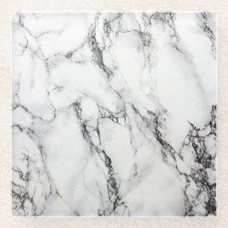 White Carrara Marble Glass Coaster