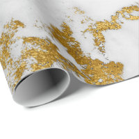 White Carrara Marble Gray Gold Glam Stone Wrapping Paper