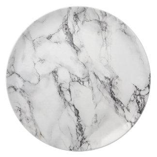 White Carrara Marble Melamine Plate
