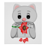 White Cartoon Cat With A Flower Posters
