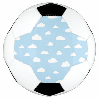 White Cartoon Clouds on Blue Background Pattern Soccer Ball