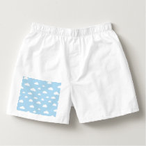 White Cartoon Clouds on Light Blue Background Patt Boxers