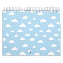 White Cartoon Clouds on Light Blue Background Patt Calendar