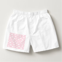White Cartoon Clouds on Pink Background Pattern Boxers