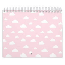 White Cartoon Clouds on Pink Background Pattern Calendar