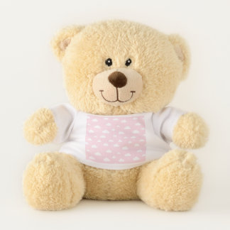 White Cartoon Clouds on Pink Background Pattern Teddy Bear