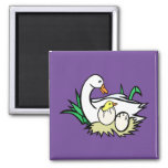 White cartoon duck with baby ducks in eggs 2 2 inch square magnet